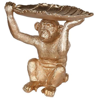 Gold Monkey With Leaf Dish