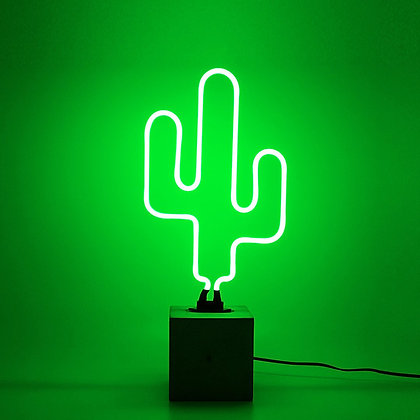 Neon Green Concrete Base Cactus Light