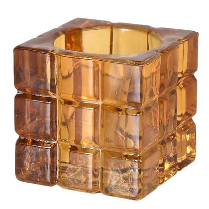 Amber Cube glass Candle Holder
