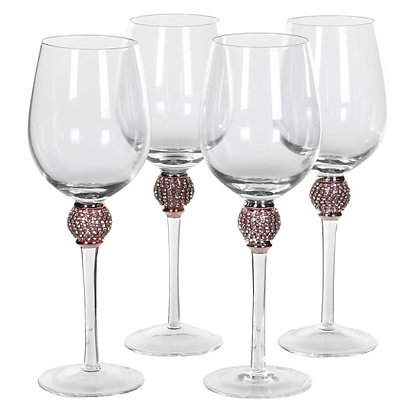 Rose Pink and Gold White Wine Glasses - Set of 4