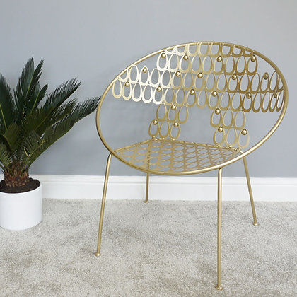 Gold Art Deco Metal Chair