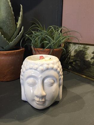 White ceramic Buddha head gift set oil / wax melt fragrance burner