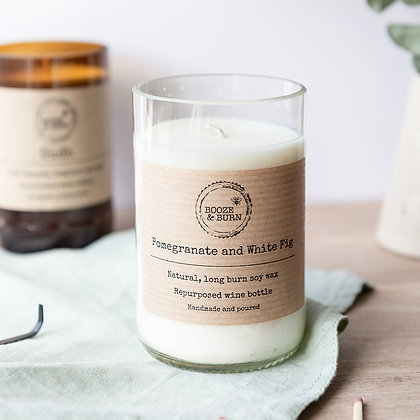 Wine Bottle Candle Pomegranate and White Fig