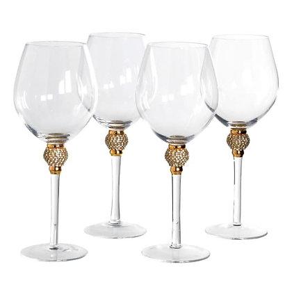 Gold Diamante Red Wine Glasses - Set of 4