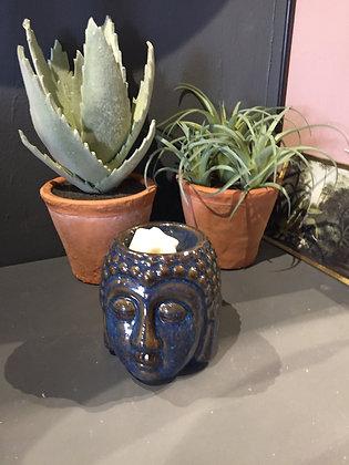 Dark blue ceramic Buddha head gift set oil burner