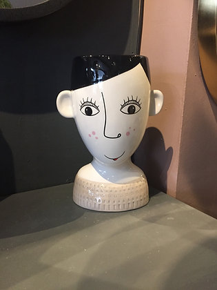 Ceramic DOODLE WOMAN'S Face Vase/Planter - FRECKLES