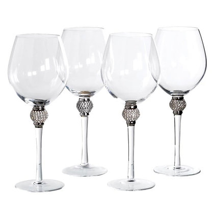 Silver Diamante Red Wine Glasses - Set of 4