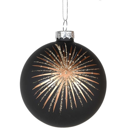 Black and gold starburst bauble