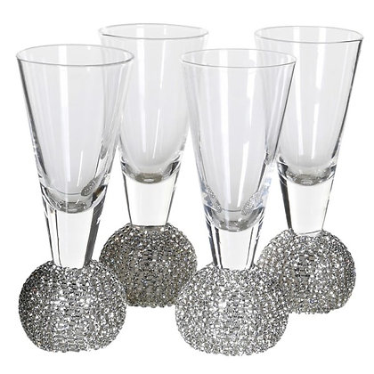 Silver Diamante Shot Glasses - Set of 4