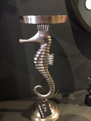 Silver Seahorse Candleholder  - Large