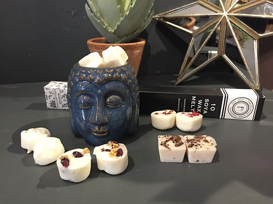 Dark blue ceramic Buddha head gift set wax burner with 10 winter wax melts