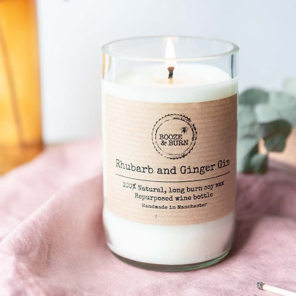 Wine Bottle Candle Rhubarb and Ginger Gin