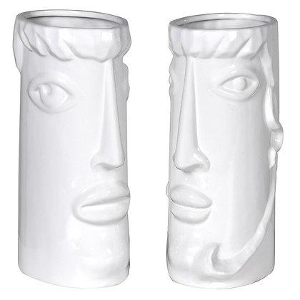 White Ceramic Face Vases - Set Of 2