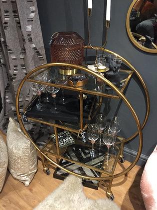 Deco Gold Glass Bar Trolley