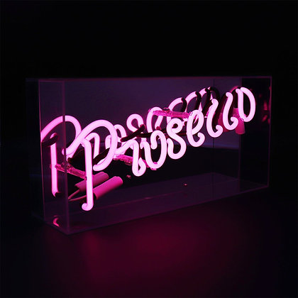 Pink 'PROSECCO' Acrylic Box Neon Light