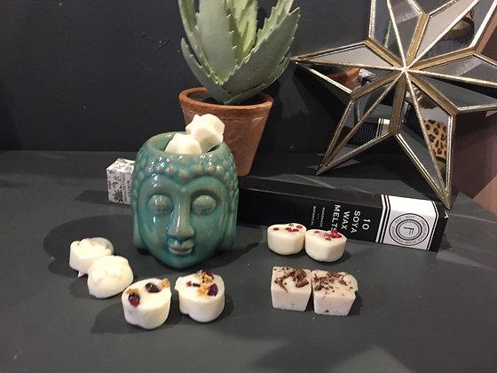 Light blue ceramic Buddha head gift set oil burner with 10 winter wax melts