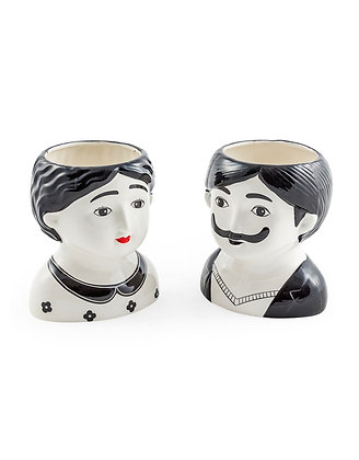 Large Mr and Mrs Ceramic Pots
