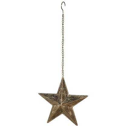 Gold Hanging Star Candleholder
