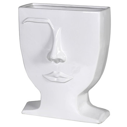 White Male Eyebrow Ceramic Vase