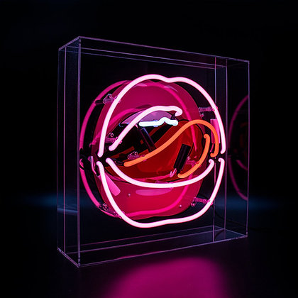Neon Lips Graphic Acrylic Box Light