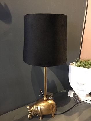 Gold hippo table lamp with black velvet shade