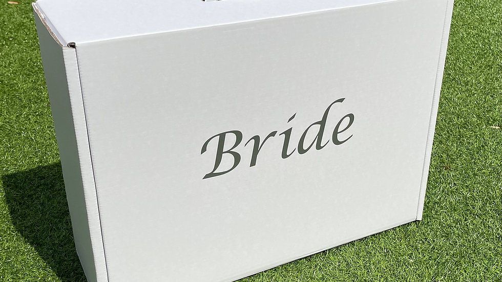 """Wedding dress storage and Airline Travel box Very Strong. Silver """"Bride"""""""