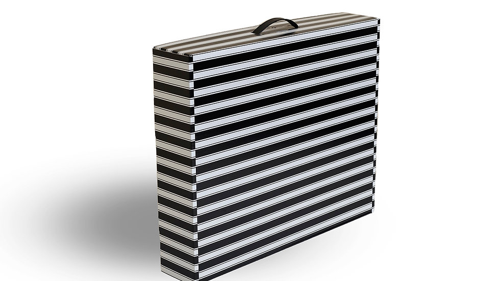 Slim-line wedding dress storage and travel box. Black and White