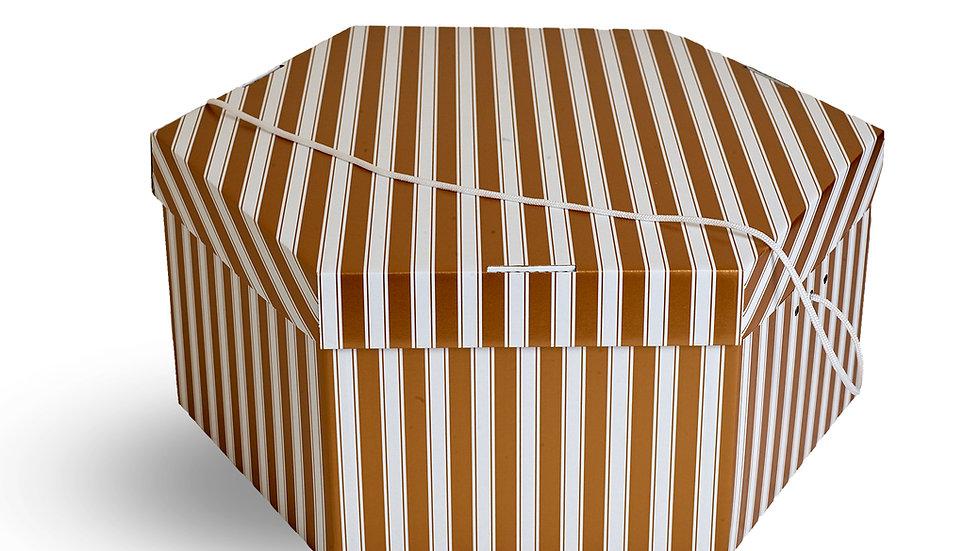 Wedding hat storage box. Gold & White