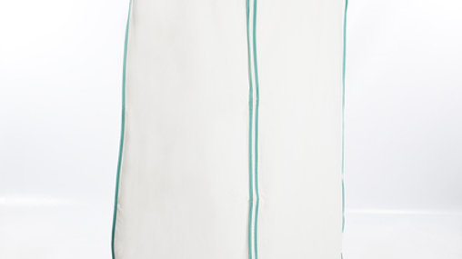 White with Turquoise piping Wedding dress/Garment cover