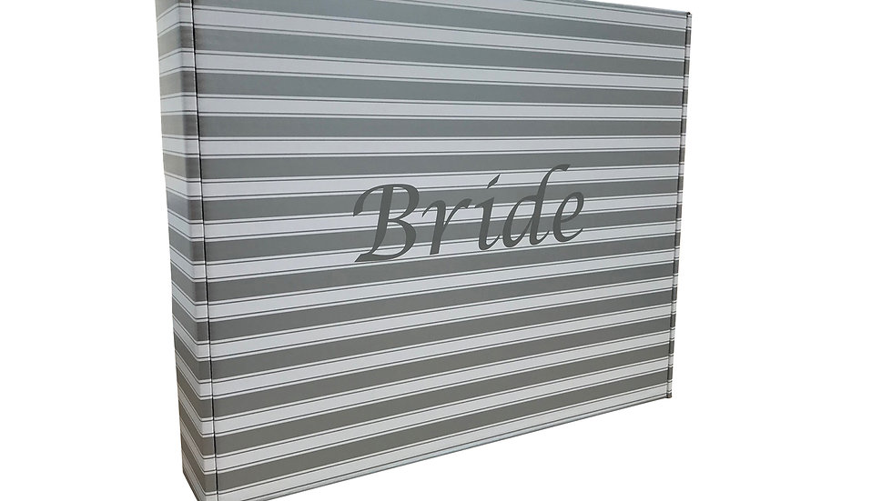 """""""Bride"""" Wedding dress storage and travel box. Silver and White"""