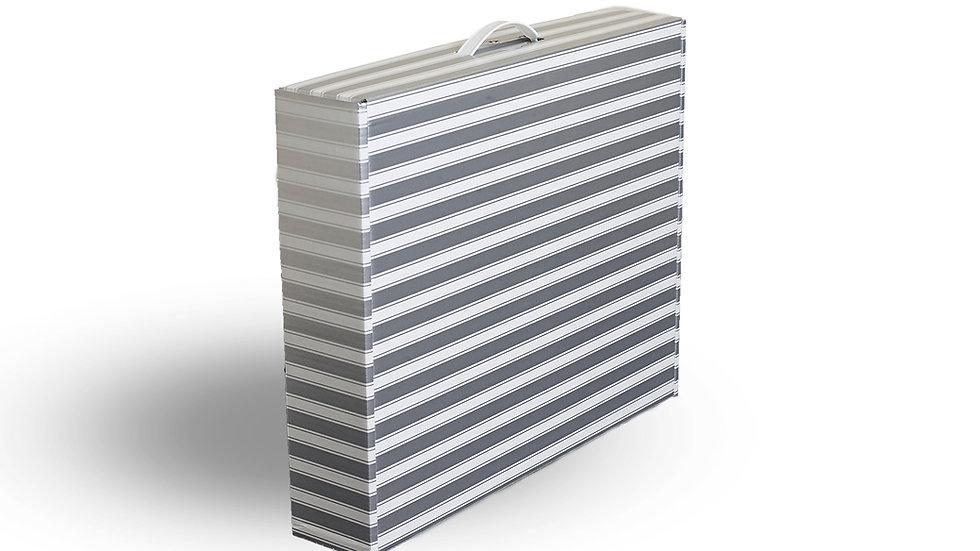 Slim-line wedding dress storage and travel box. Silver and White