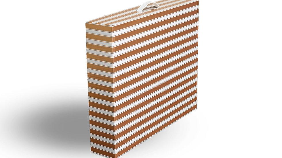 Slim-line wedding dress storage and travel box. Gold and White
