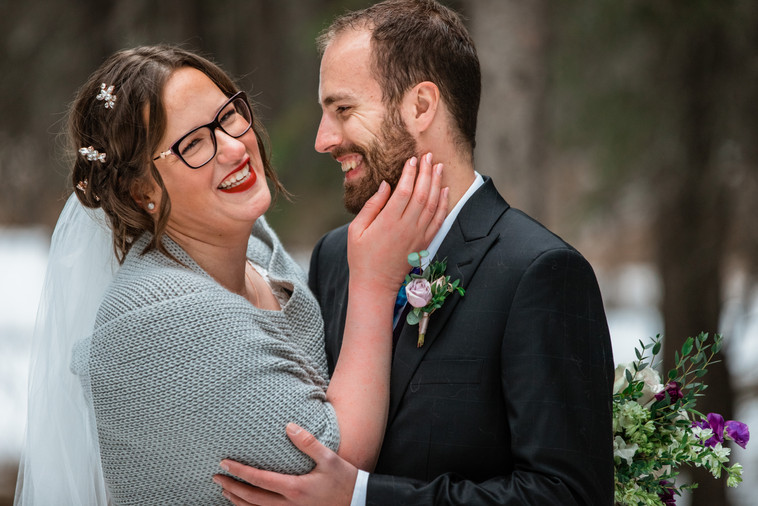 Outdoor Calgary elopement, bride and groom photos, bride and groom laughing