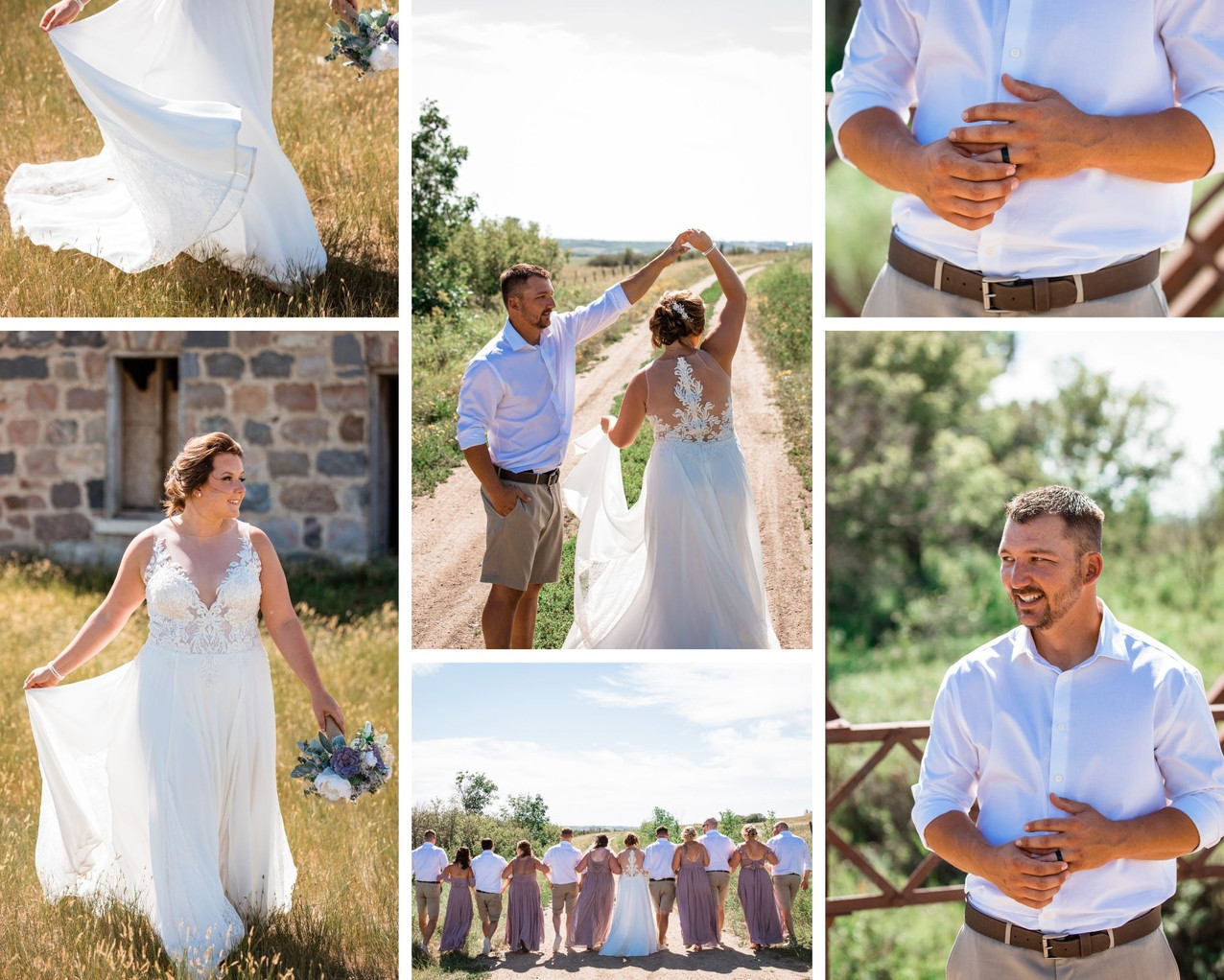 Farm wedding with bride and groom dancing on a dirt road and in a wheat field.