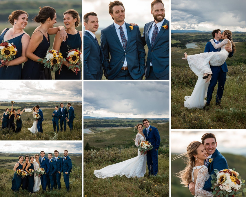 Wedding party poses, girls holding bouquets. Couple embracing.