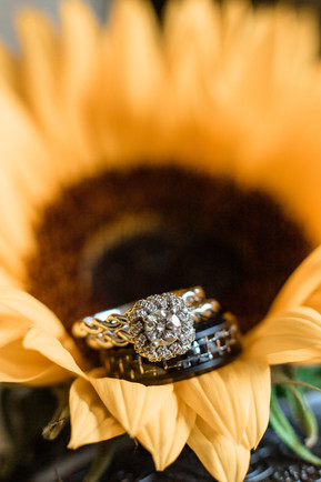 Wedding rings show cased in a sunflower.