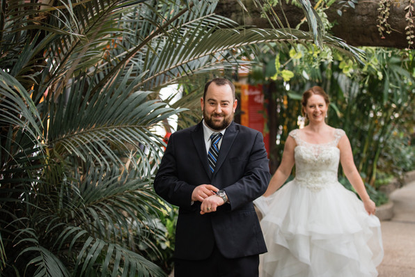 Calgary Zoo Winter Wedding, First Look, bride is coming