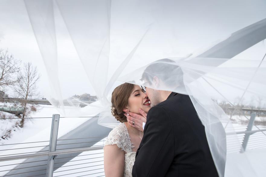 Calgary Winter Wedding Formal Photos, Bride and Groom