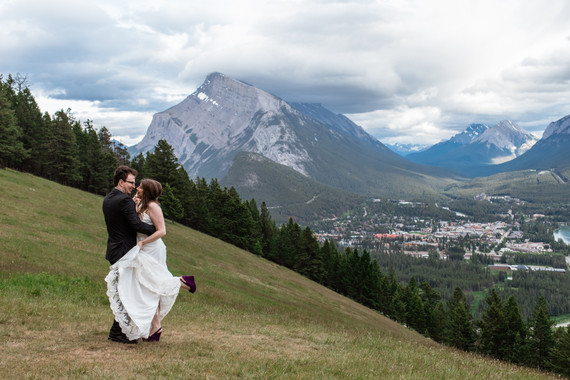 Bride and groom holding each other Banff National Park.