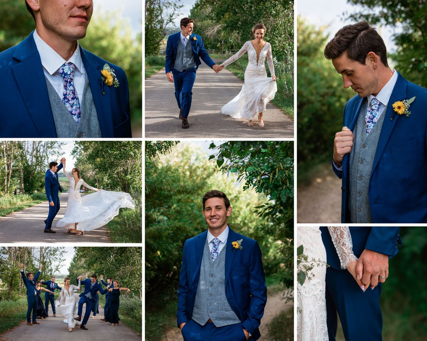 Couple running along a path. Groom twirling bride, her dress is flowing. Wedding party having fun.