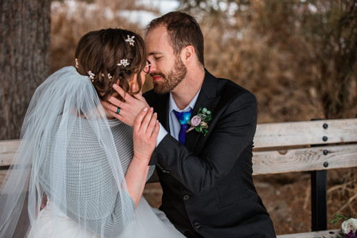 Outdoor Calgary elopement, bride and groom photos, intimate wedding pictures