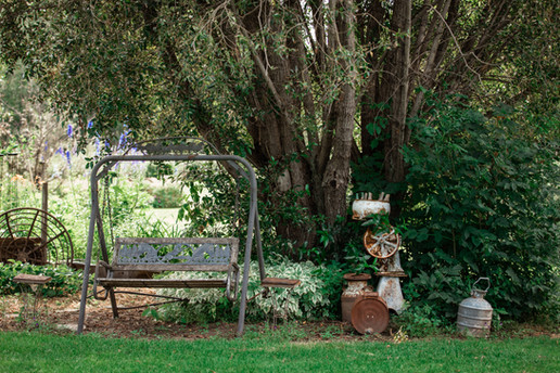 Antique items in the garden like an old swing, wheel barrow and canisters in front of a big full tree.