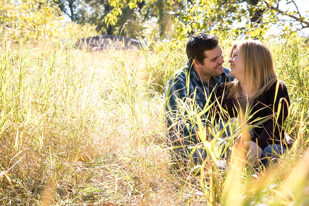 Couple Photos in the grass, engagement session