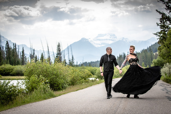 Banff National Park Vermilion lakes elopement with bride and groom.