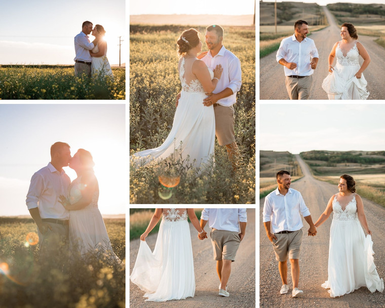 Bride and groom's portraits in a canola field and down a dirt road on their farm wedding
