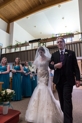 Highwood Lutheran Church Wedding, father and bride walk down aisle