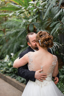 Calgary Zoo Winter Wedding, First Look bride and groom kiss