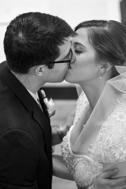 Highwood Lutheran Church Wedding, Bride and Groom first kiss