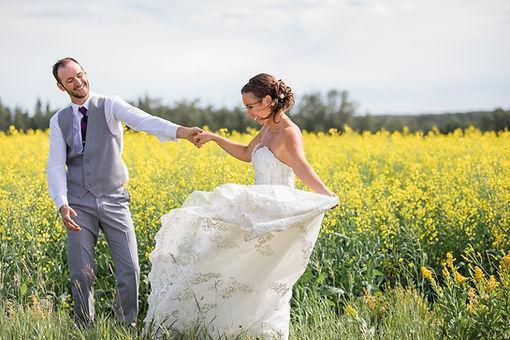 Canola Field Wedding Photo