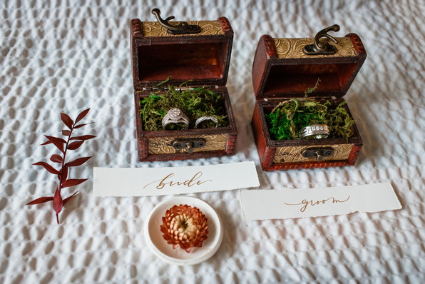 wedding flat lay showcasing the bride and groom's rings
